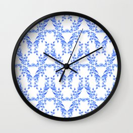 Blue and White Floral Watercolor Swags Wall Clock