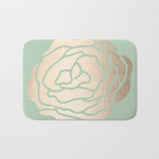 Rose White Gold Sands on Pastel Green Cactus Bath Mat
