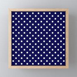 Pattern Pois Blanc/Marine Framed Mini Art Print