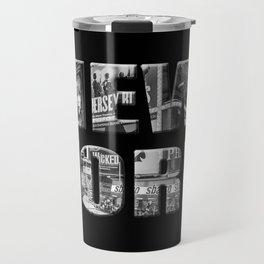 New York (black & white photo type on black) Travel Mug
