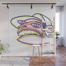 Skateboard Kid with Big Mouth and Crazy Eyes, Wearing Trucker Hat Wall Mural