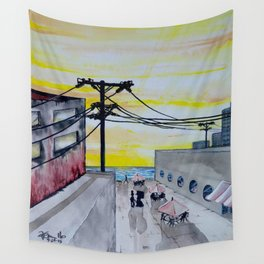 Seaside Cafe Wall Tapestry