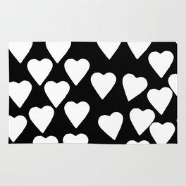 Hearts White on Black Rug