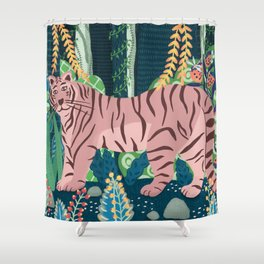 Tiger in a fantastic forest Shower Curtain