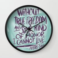 camus Wall Clocks featuring OH NO CAMUS AGAIN by Josh LaFayette