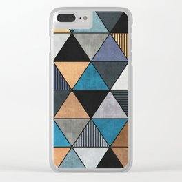 Colorful Concrete Triangles 2 - Blue, Grey, Brown Clear iPhone Case