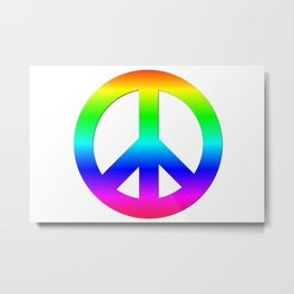 Bright Neon Rainbow CND Peace Symbol Metal Print