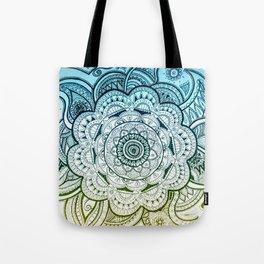 Mandala Blue Yellow Tote Bag