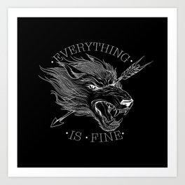 Everything Is Fine Black Art Print