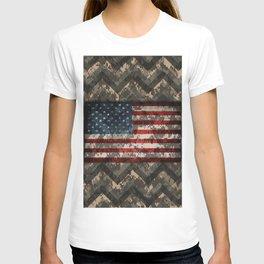 Digital Camo Patriotic Chevrons American Flag T-shirt