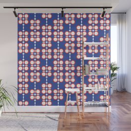 Geometric hanging flowers on blue Wall Mural