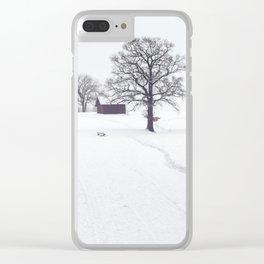 Rural Winter Landscape Clear iPhone Case