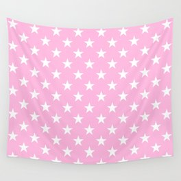 Stars (White & Pink Pattern) Wall Tapestry