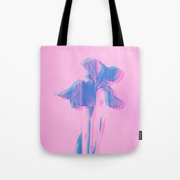 Light Blue and Blush Glitched Iris Tote Bag