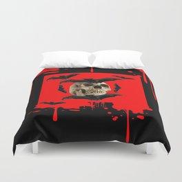 BAT INFESTED HAUNTED SKULL ON BLEEDING HALLOWEEN ART Duvet Cover