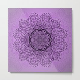 Mandala on Light Purple Metal Print