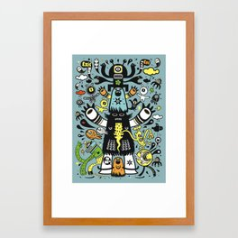 Guru Cat (blue time) Framed Art Print