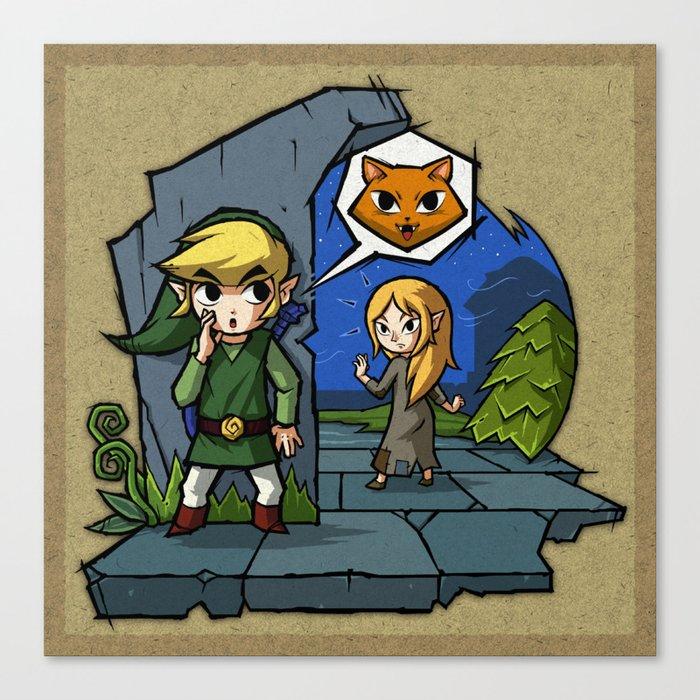 Legend of Zelda Wind Waker Meow T-Shirt Canvas Print