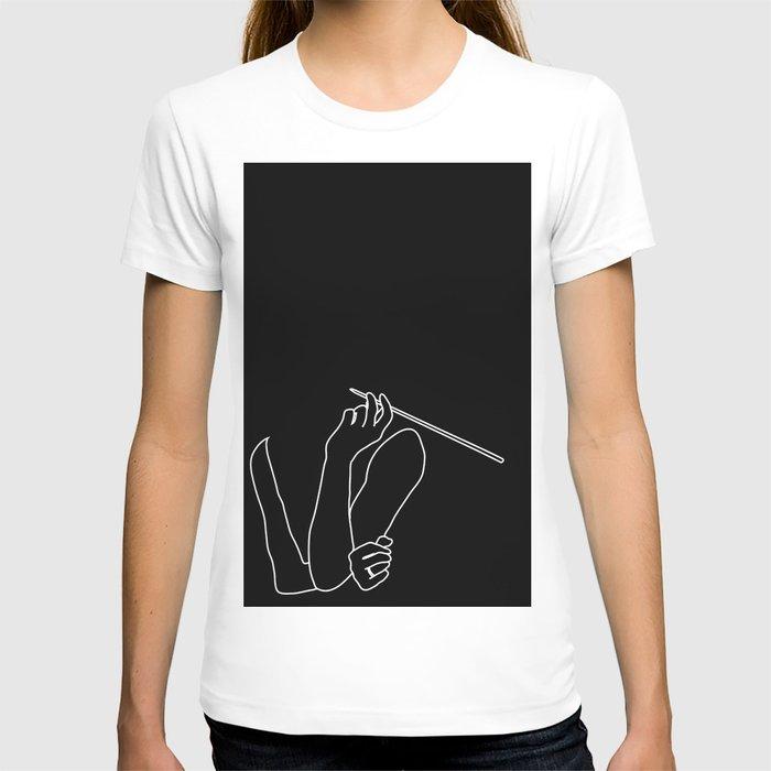 Minimal line drawing Audrey Hepburn smoking T-shirt