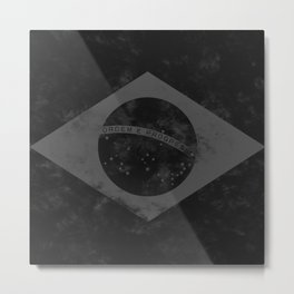 Black Brazil Flag Metal Print