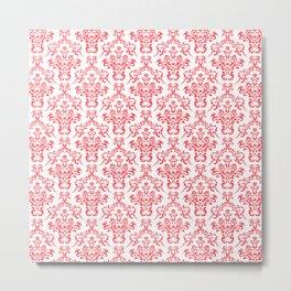 Red Ornamental Flower & Vines Pattern Metal Print