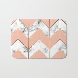 LUXE ROSE GOLD VECTOR ON BLACK AND WHITE MARBLE Bath Mat