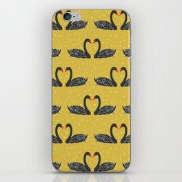 Black Swan on Mustard yellow iPhone Skin