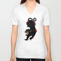 panther V-neck T-shirts featuring PANTHER by Magdalena Sky - The Moth