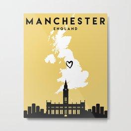MANCHESTER ENGLAND LOVE CITY SILHOUETTE SKYLINE ART Metal Print