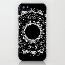 Precious white mandala on black iPhone Case