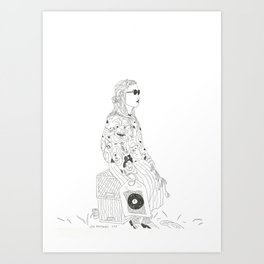 girl with record plastic bag Art Print