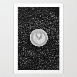 Coffee Beans (Black and White) Art Print