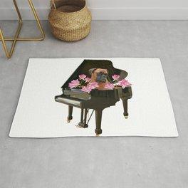 Piano - Boxer Dog - Lotos Flower Blossoms Rug