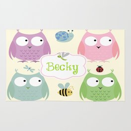 Owl Friends Pink Personalized -small label pattern Rug