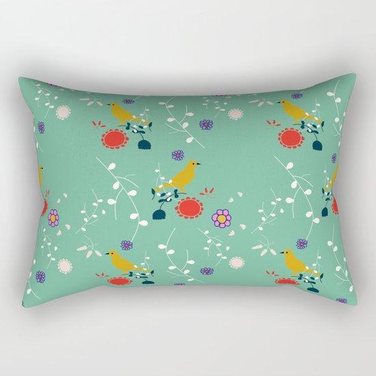 Bird and blossom green Rectangular Pillow