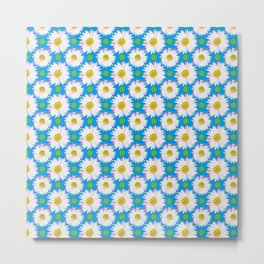 Daisies and Polka Dots on Blue Metal Print