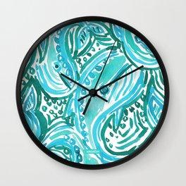 BLUE WHALE TWIRL Wall Clock