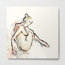 Daydream, Seated Nude Metal Print