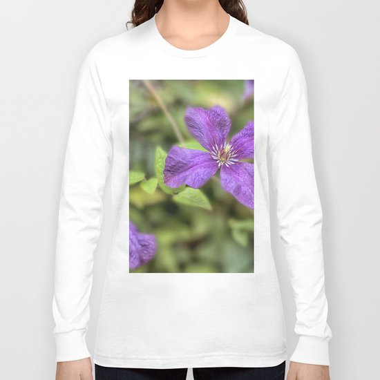 purple Clematis flower Long Sleeve T-shirt