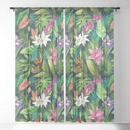 Tropical Lush Sanctuary, A Bohemian Paradise Sheer Curtain