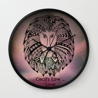 law Wall Clocks featuring Cecil's Law by MarjolynSpiritArt