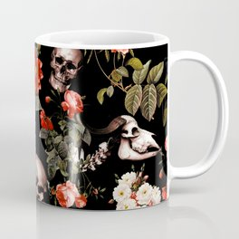 Floral and Skull Dark Pattern Coffee Mug