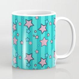 Pink star on turquoise background Coffee Mug