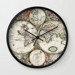Vintage World Map, 1689 Wall Clock