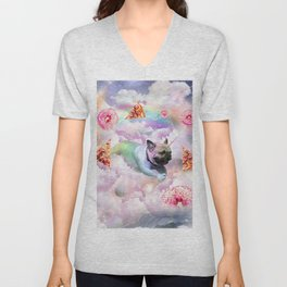 Rainbow Unicorn Pug In The Clouds In Space Unisex V-Neck
