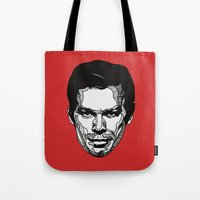 dexter Tote Bags featuring Dexter by Dylan Morang