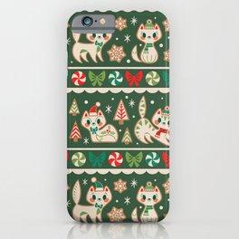 Striped Gingerbread Kitties (Green) iPhone Case
