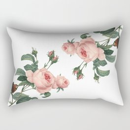 Butterflies in the Rose Garden on White Rectangular Pillow