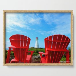 Lighthouse and chairs in Red White and Blue Serving Tray