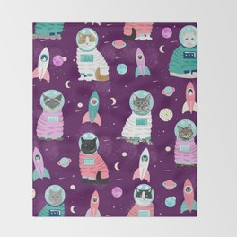 Space Cats pet portraits cute cat gifts cat lady outer space cadet rockets Throw Blanket